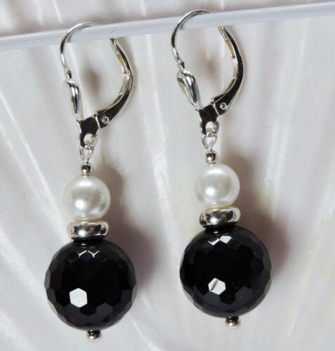 Onyx facettiert Perlen MK Schwarz Weiß Kugel Ohrringe Silber 925 Brisur