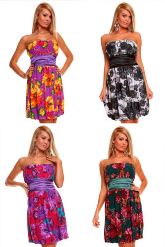 4 Farben Bandeau Kleid Sommerkleid Ballonkleid Partykleid
