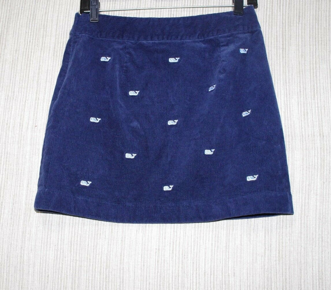 Vineyard Vines Embroidered Whale Corduroy Navy  Skirt  Size 0