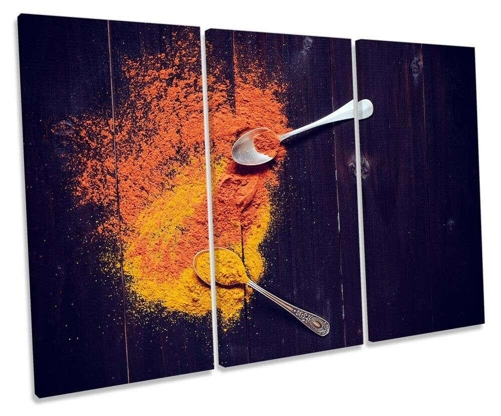 Kitchen Spices Orange Spoons Picture TREBLE toile WALL ART Print