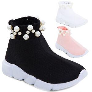 Sport Bambina Bimba Calzino Tessuto Sneakers Perle Elastico Scarpe qIxw5dI