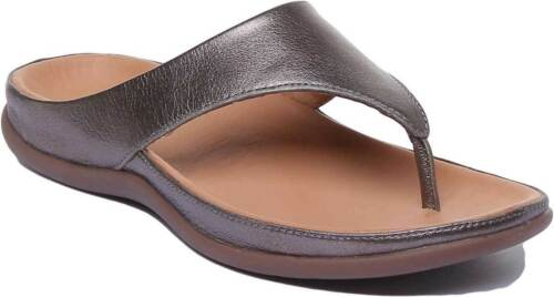 Strive Maui Women Toe Post Leather Sandals In Anthracite Size UK 3-8
