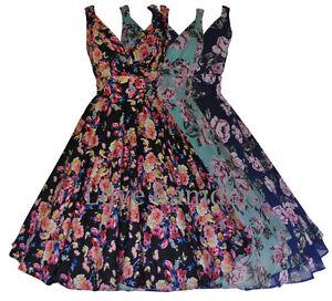 Womens-40-039-s-50-039-s-Vintage-Floral-Wrap-Bridesmaid-Prom-Party-Tea-Dress-10-28-New
