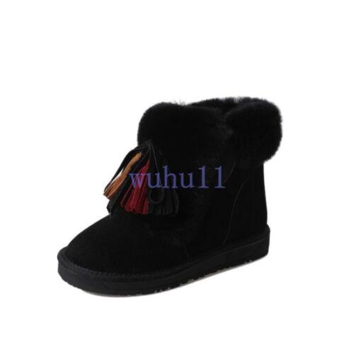 Women/'s Chic Winter Warm Fur Trim Tassel Snow Boots Solid Flat Casual Ankle Shoe