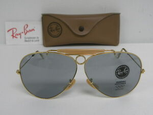 5f65e294bee New Vintage B L Ray Ban Shooter Gold Changeable Gray Blue USA ...