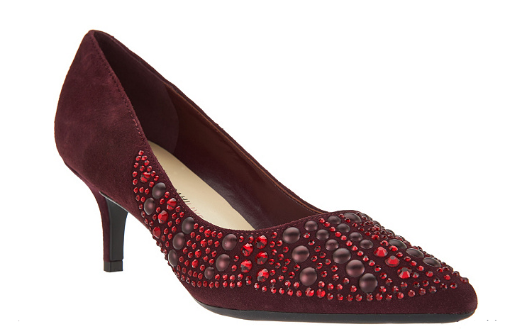 Isaac Mizrahi Live  Suede Pumps with Embellishments Janey Suede Bordeaux 9 New