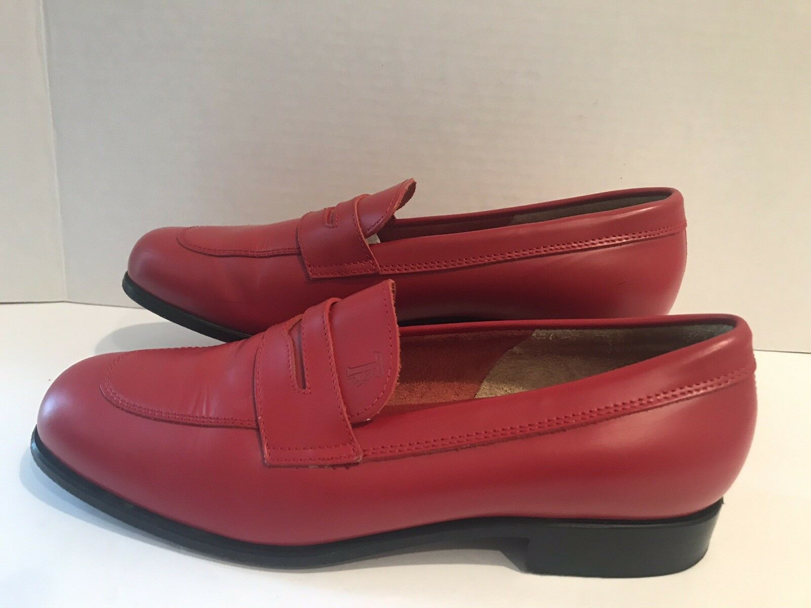 Tods Women's Red Leather Loafers Slip Ons Penny Lane Size 37 EUR 6-6.5 US