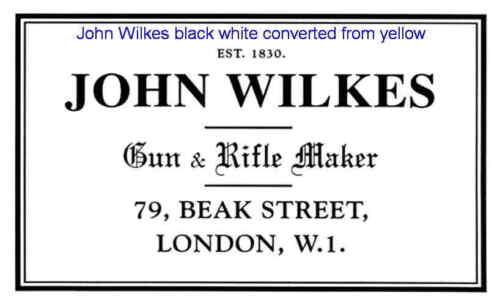 John WILKES gunmaker Gun Case etichetta ACCESSORI PISTOLA Maker Scelta di Colori