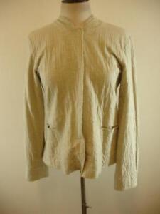 4f21e93d7d4 Womens sz S Eileen Fisher Snap Front Tan Jacket 100% Cotton Mandarin ...