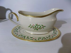 Image Is Loading Lenox Christmas China Gravy Boat With Gold Handle