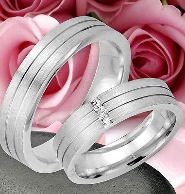 2 Ringe Trauringe Eheringe Dr Mit 3 Steine Silber 925 Jk28-3 Preisnachlass Gravur Gratis