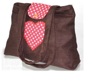 Schultertasche Shopper Damen Damenshopper Handtasche Herz braun rotkarriert NEU