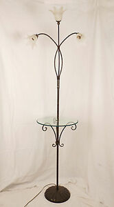 Piantana Lampada Da Terra Con Tavolo Tavolino Vetro Cristallo Anticato Art 950 Ebay