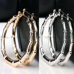 Big-Hoop-Earring-Gold-Silver-Bamboo-Statement-Jewelry-Large-Circle-Women-Lady