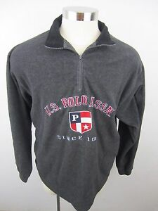 Zip Us Gray Jacket 14 Flag L Vintage Uspa Polo Assn Pullover Mens 6qZA0
