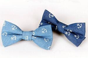 MEN-Party-Anchor-Sailor-Marine-Blue-Denim-Formal-Wedding-bow-tie-Necktie-bowtie