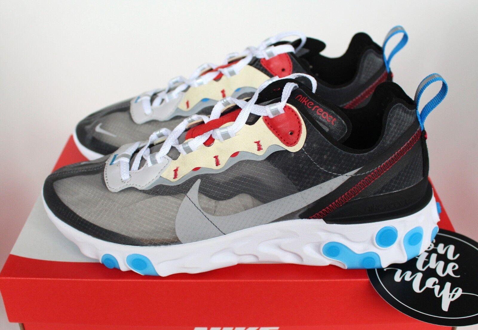 Nike React Element 87 Desert Dark Grey Platinum Blue US New