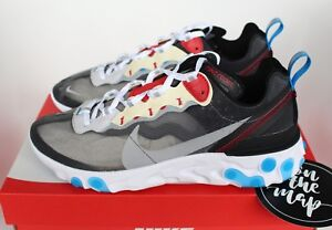 58b1fd17f936 Nike React Element 87 Desert Dark Grey Platinum Blue UK 5.5 6 7 US ...