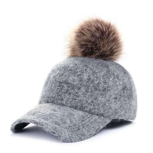 Ladies Girls Felt Fur Hat All Year Round Outdoor Baseball Cap Fashionable Pom
