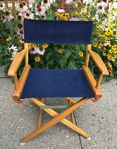 Super Details About Vintage 33 Tall Wood Canvas Royal Blue Folding Directors Chair Seat Evc Evergreenethics Interior Chair Design Evergreenethicsorg
