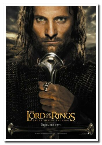 """The Lord Of The Rings 12/""""x8/"""" Vig Mortensen as Aragorn Movie Silk Poster"""