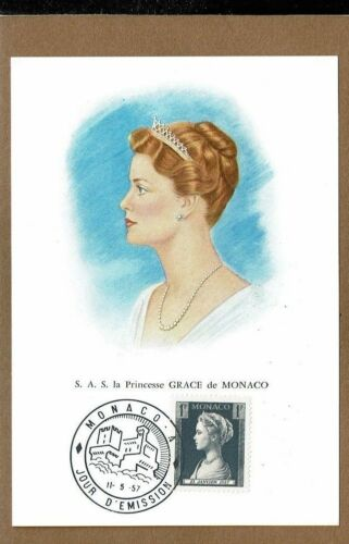 4 card set Princesse GRACE de MONACO with stamps ,1f, 2f, 3f, 5f dated 11557