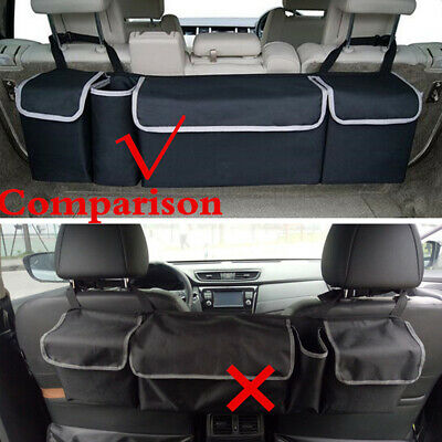 Leather Car Rear Seat Back Storage Bag Multi-Purpose Car Trunk Organizer Automatically Collects and Stores Car Interior Accessories LYMY Color : Black