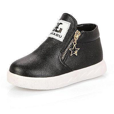 Girls Boys Children Casual PU Leather Soft Ankle Boots Toddler Kids Zipper Shoes