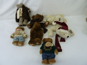 BOYDS BEARS AND FRIENDS LOT OF 5 PLUSH TOYS,BURKE,KLONDIKE,SKIDOO,EDMUND,ADMUND