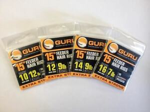 """GURU SIZE 16 BARBLESS 15/"""" SPEED STOP FEEDER HAIR RIGS x 8 FOR COARSE FISHING"""