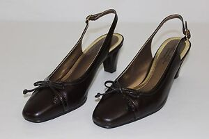 Soft Style Hush Puppies Womens Size 9 M Dark Brown Slingbacks Pumps ... 4e37f4589d95a