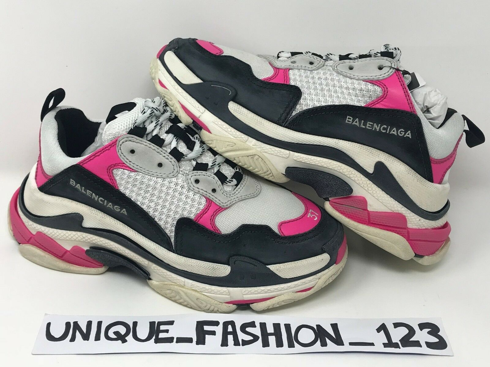 BALENCIAGA TRIPLE S PINK WHITE BLACK US 9 UK 6 EU 39 26CM WOMEN'S SNEAKER