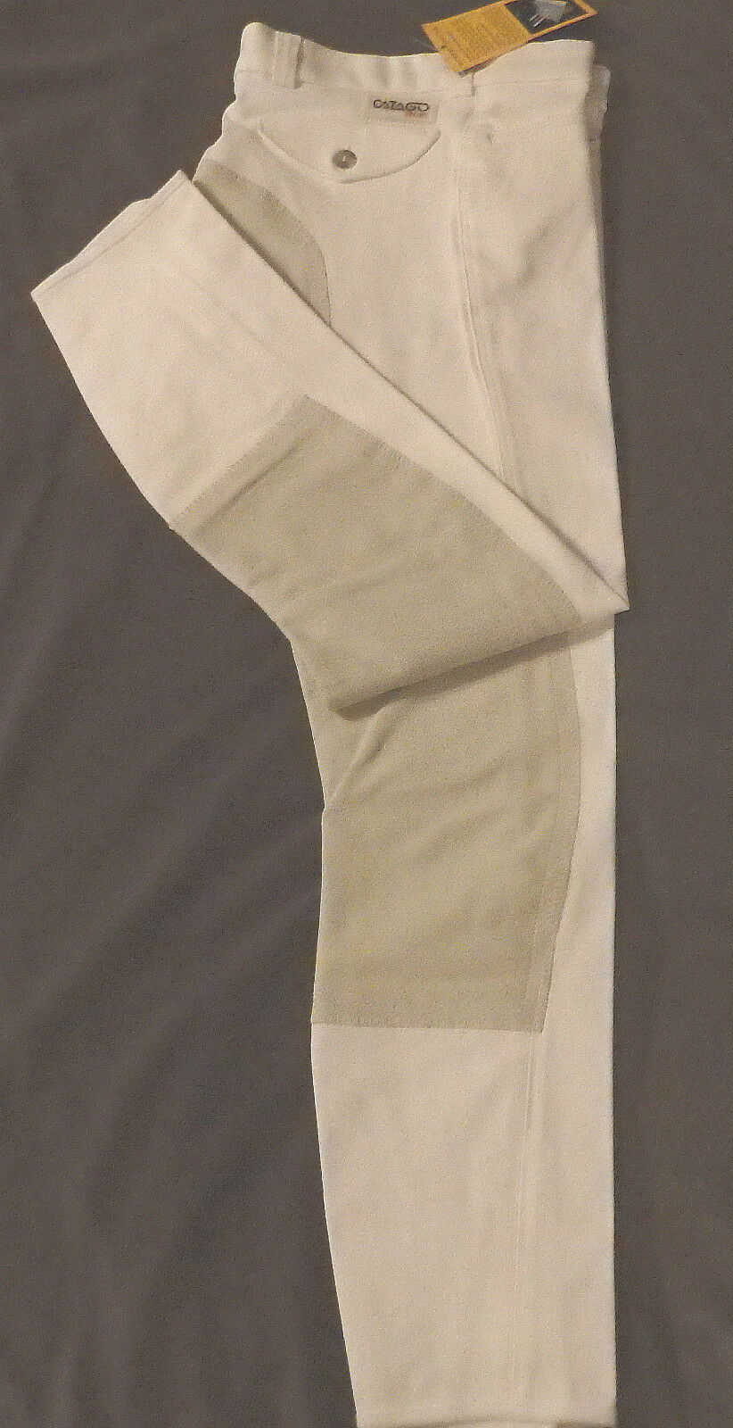 CATAGO Ladies Breeches, 3 4 Full Trim, White,  Size 36, Trim Light Grey, (1224)  sale online