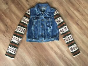 Veste avec People vieilli laine en Nordic jean Taille Small aztèque Denim en manches Free tq01S1
