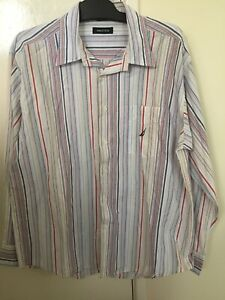 Nautica-Men-039-s-Long-Sleeve-Button-Shirt-Striped-Size-Large-W48226-100-Cotton