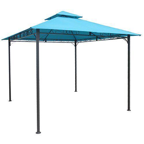 Square Vented Canopy Gazebo Aqua bluee New