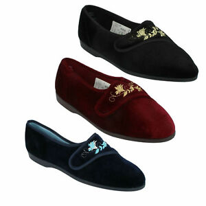 Black Navy Ritape Lounge House Slippers KV784 Ladies Freestep Wine