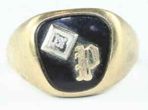 K Letter In Diamond Ring -039-S-VINTAGE-MENS-10K-GOLD-DIAMOND-AND-ONYX-INITIAL-LETTER-P-RING ...