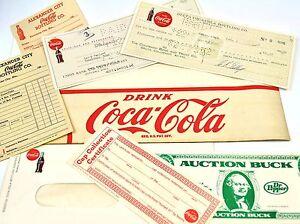 Coca-Cola-Coke-USA-Matiere-Imprimee-Coupons-Schecks-Enveloppes-Order-Sheet