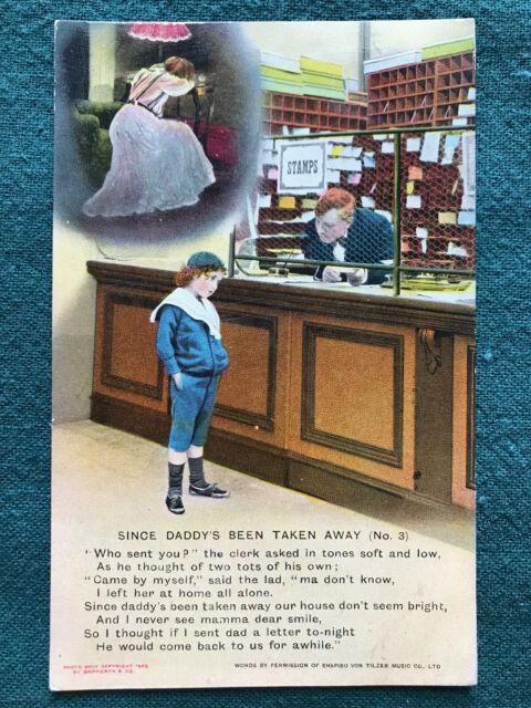 Little Boy At Post Office Maudlin Song Lyrics Color Art Postcard 1913 Bamforth