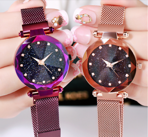 07046f16b Ladies Watch Starry Sky Diamond Dial Women Bracelet Watches Magnetic ...