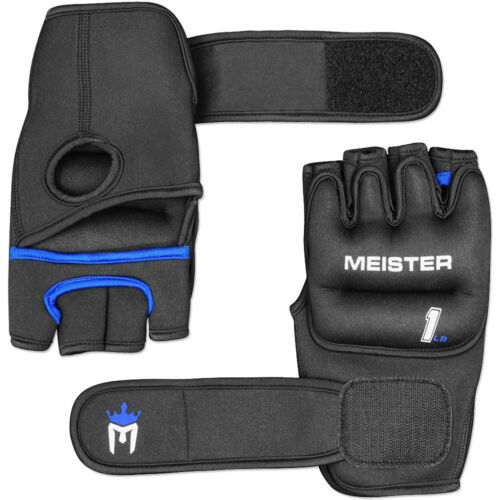 BLACK Heavy Hands Boxing Cardio Turbo Jam 1LB MEISTER WEIGHTED WORKOUT GLOVES