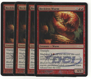 TCG-100-MtG-Magic-the-Gathering-Reckless-Wurm-Gateway-Promo-Foil-Playset-4