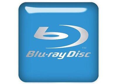 "Blu-ray Disc Blue 1""x1"" Chrome Domed Case Badge / Sticker Logo"