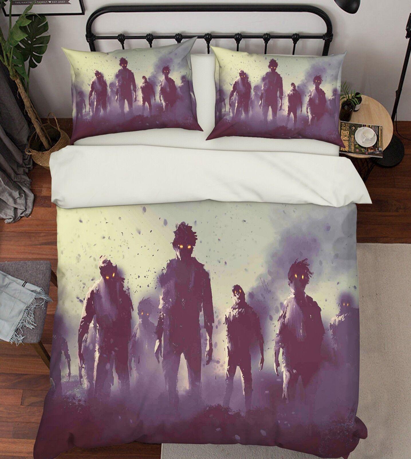 3D Warrior Smoke 66 Bed Pillowcases Quilt Duvet Cover Set Single King UK Summer