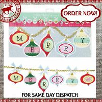 MERRY CHRISTMAS PAPER GARLAND - FIREPLACE BUNTING Hanging Decorations - Retro