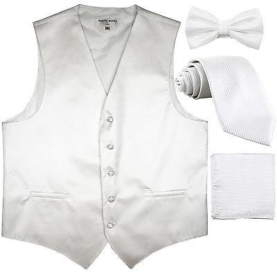 New Men/'s stripes Tuxedo Vest Waistcoat /& necktie /& Bow tie /& Hankie black prom