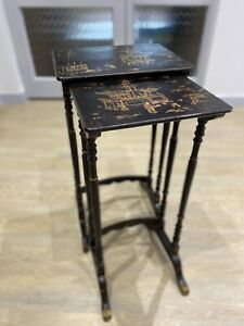 Antique-Pair-Tables-Japanese-Lacquered-Nest-2-Stands-1910s-1920s-Hand-Painted
