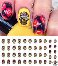 Red Rose Sugar Skull Nail Art Waterslide Decals - Salon Quality!