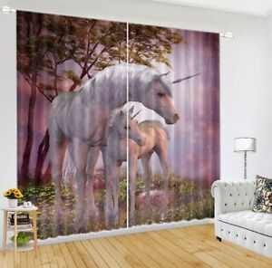 Fairy Unicorn 3D Blockout Photo Mural Printing Window Curtain Fabric 2 Panels